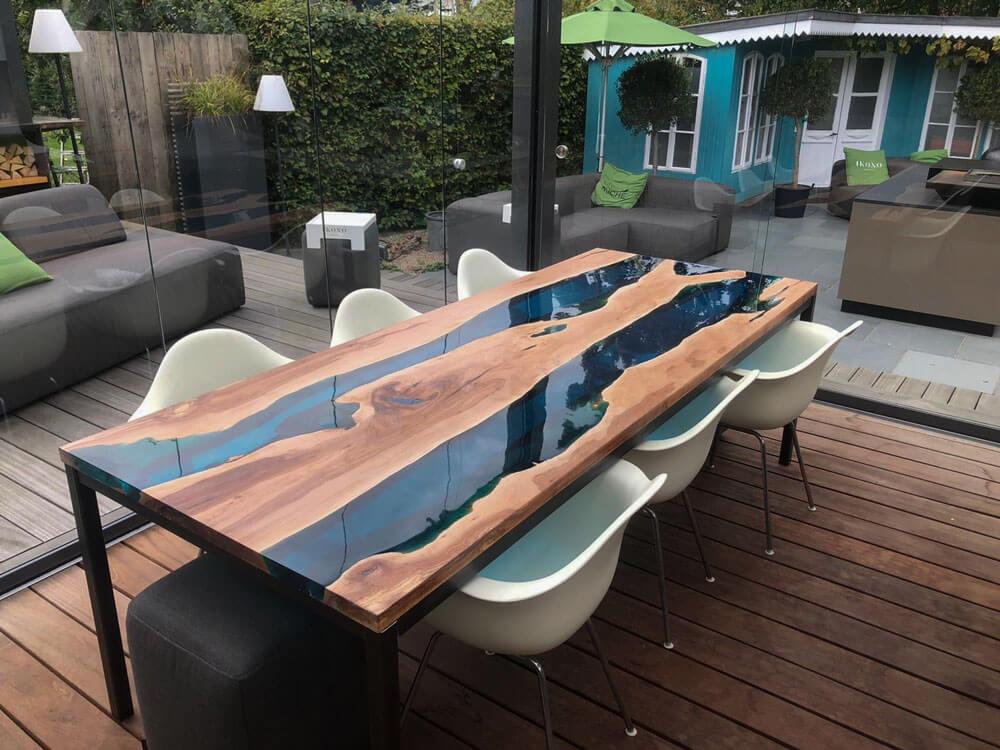 Rivertable | Epoxidharz Tisch | Flusstische River Epoxy | massiver Designer Tisch