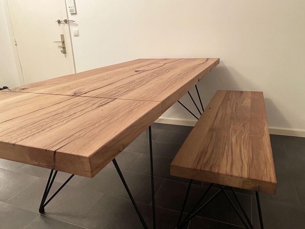 Esstisch massiv | Esstisch natürliches Holz | Designer Esszimmertisch | Eiche Altholz