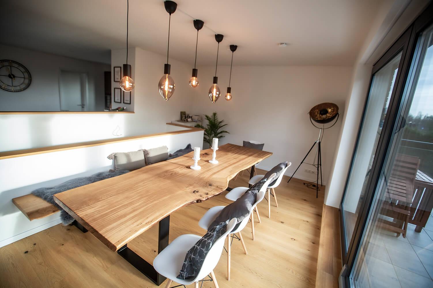 Designer Tisch, rustikal | Stammbohlen | Design Unikat