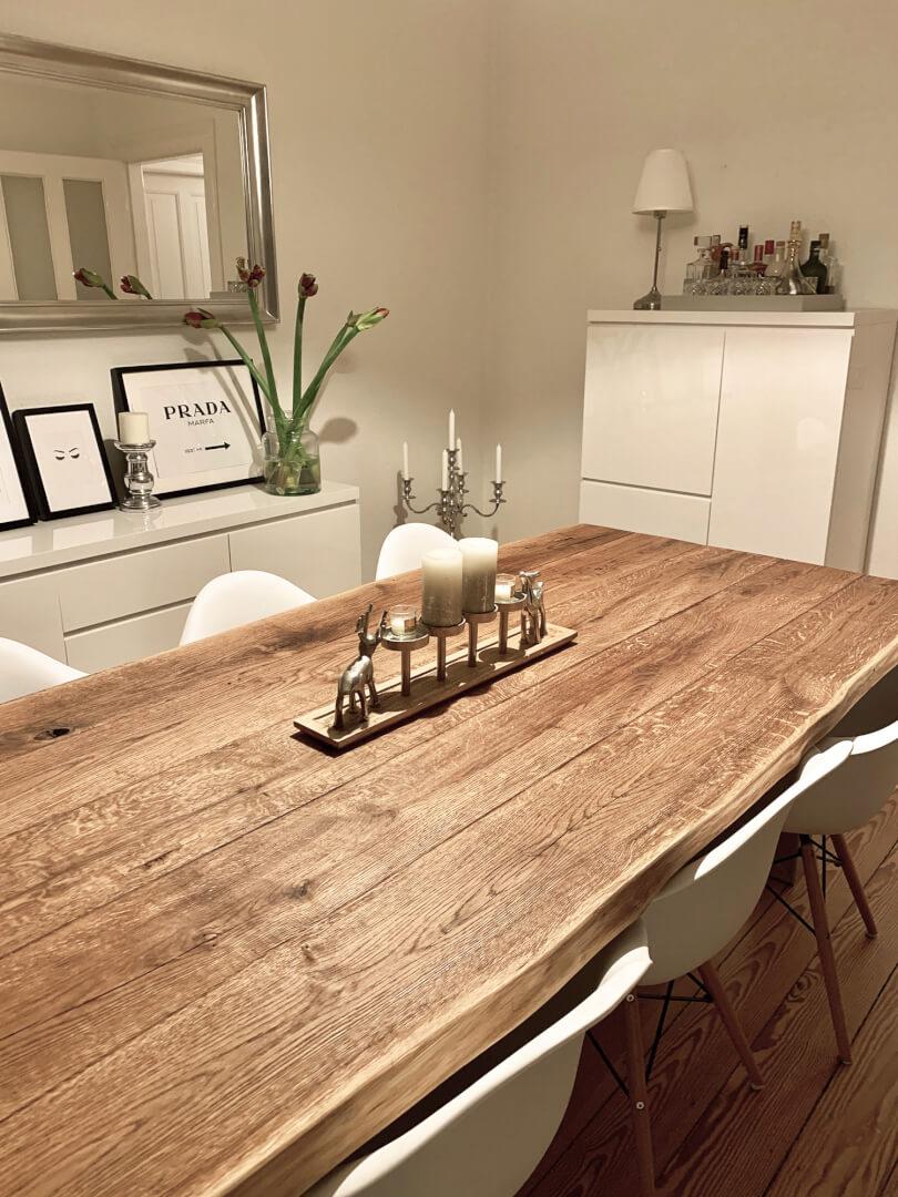 Esstisch | Tischgestell Metall | Massivholz Tischplatte