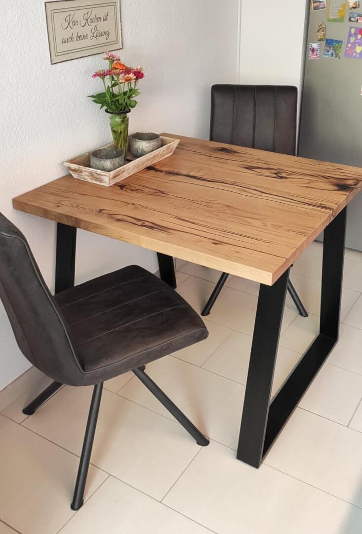 Esstisch für Küche | kleiner Esstisch Massivholz | Echtholz Esstisch klein | Naturholz Custom