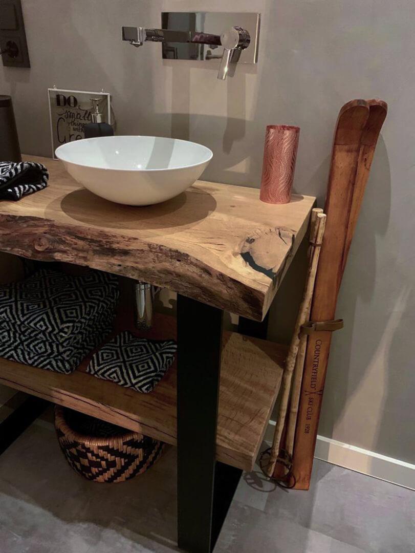Holzplatte für Waschtisch