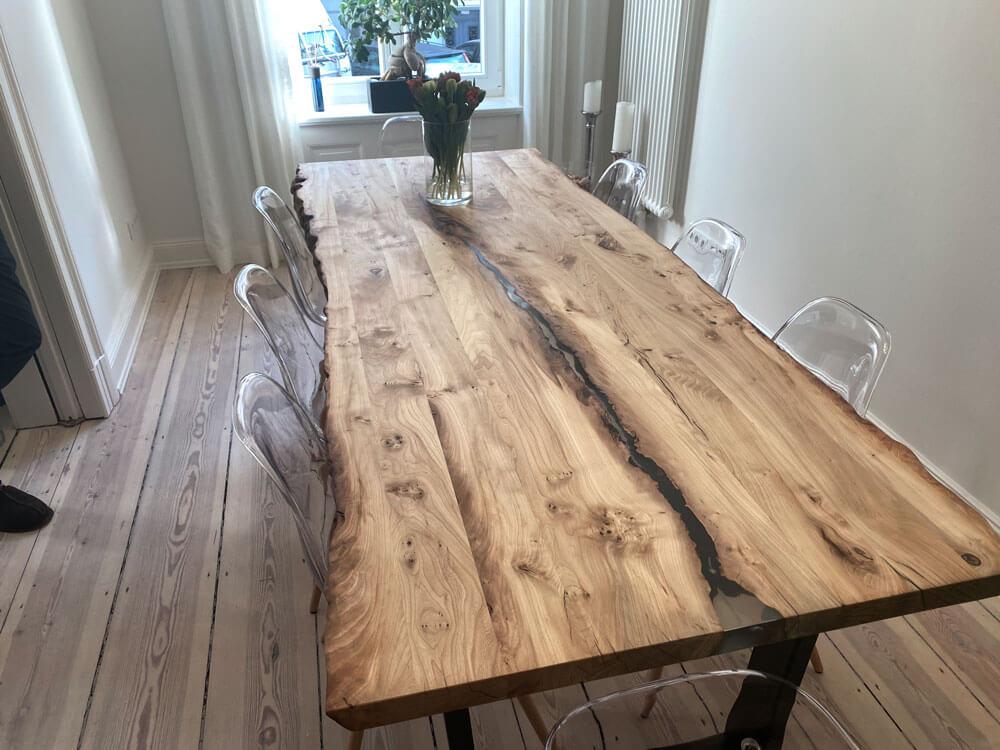 Massiver Esstisch | Holztisch Eiche | Esstisch mit Naturkante