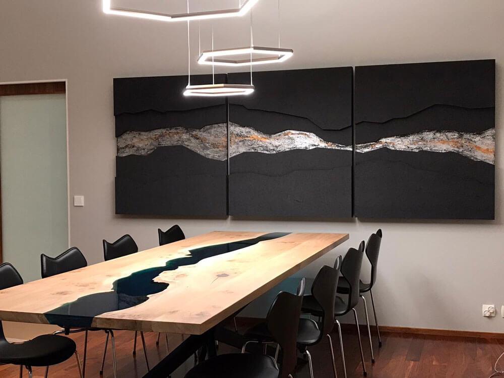 River Table | Dunkles Holz | dunkel, Massivholz | Designertisch