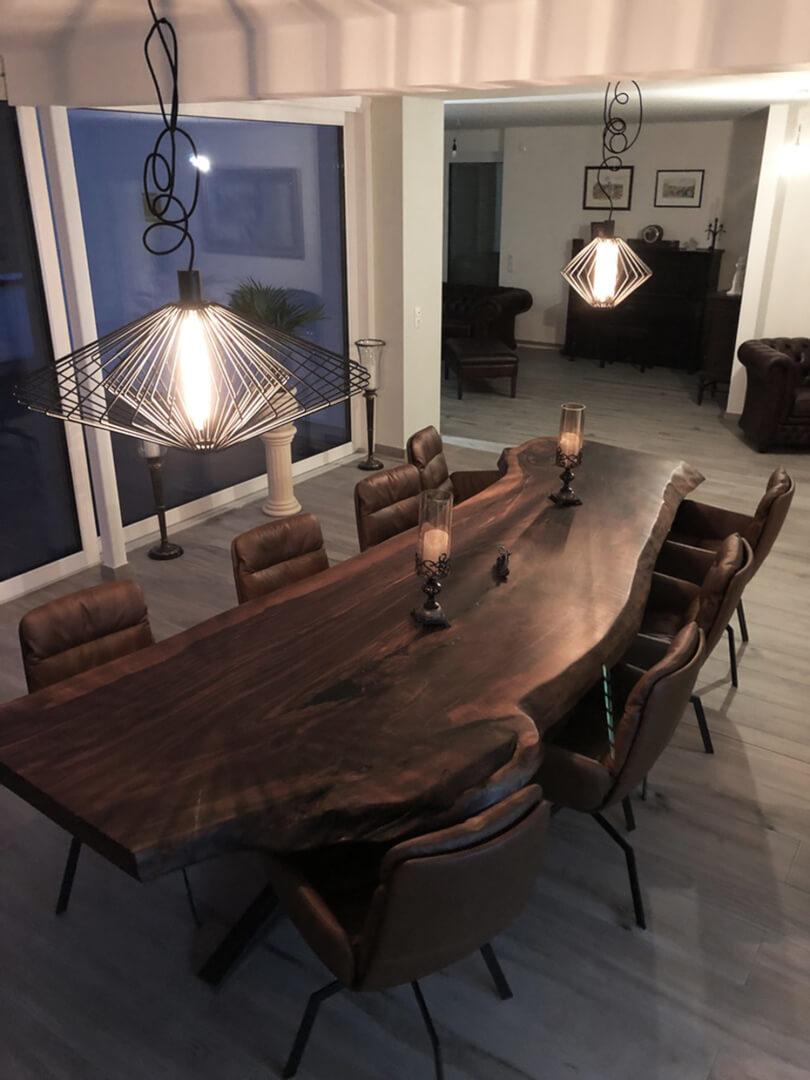 Unikattisch Walnuss groß | großer Unikat Tisch Walnussholz | langer Tisch