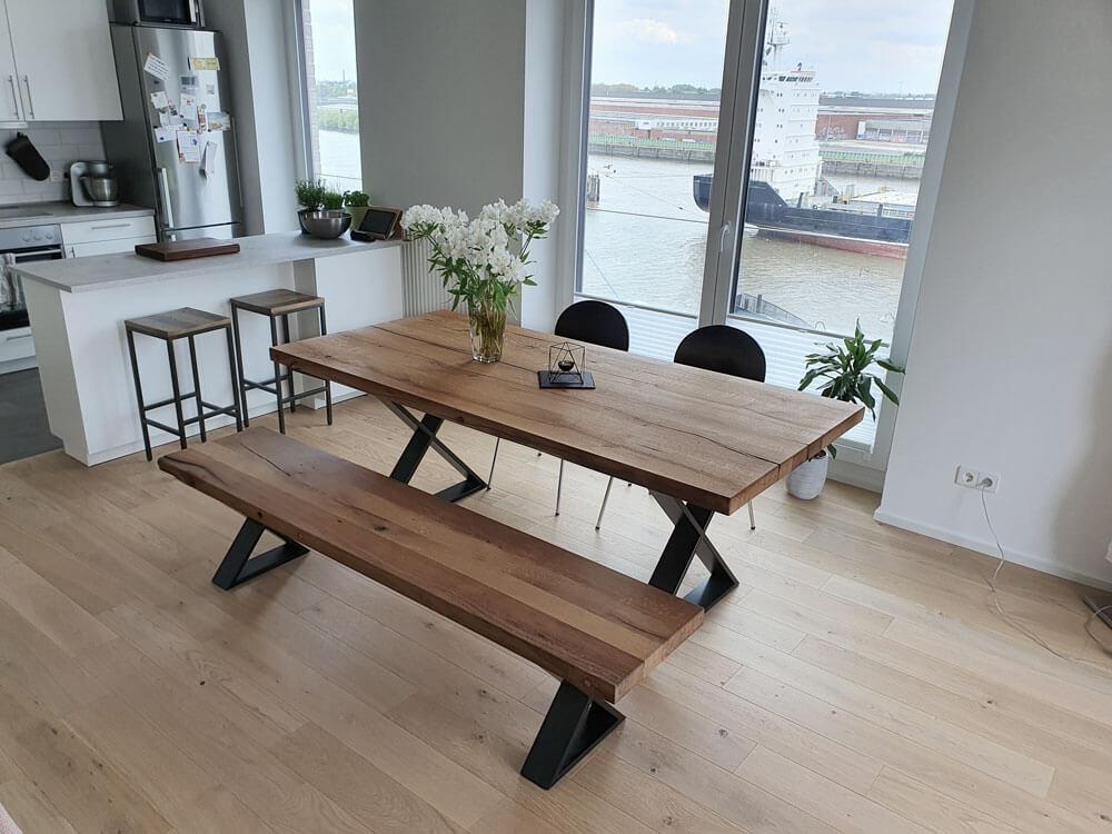 Massivholztisch | Esstisch mit Bank | Esszimmer Tisch massiv